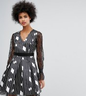 Horrockses Horrockses Structured Abstract Print Skater Dress With Fluted Lace Sleeve - Multi 2018