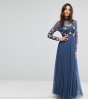 Maya Long Sleeved Maxi Dress with High Neck and Embellishment - Navy