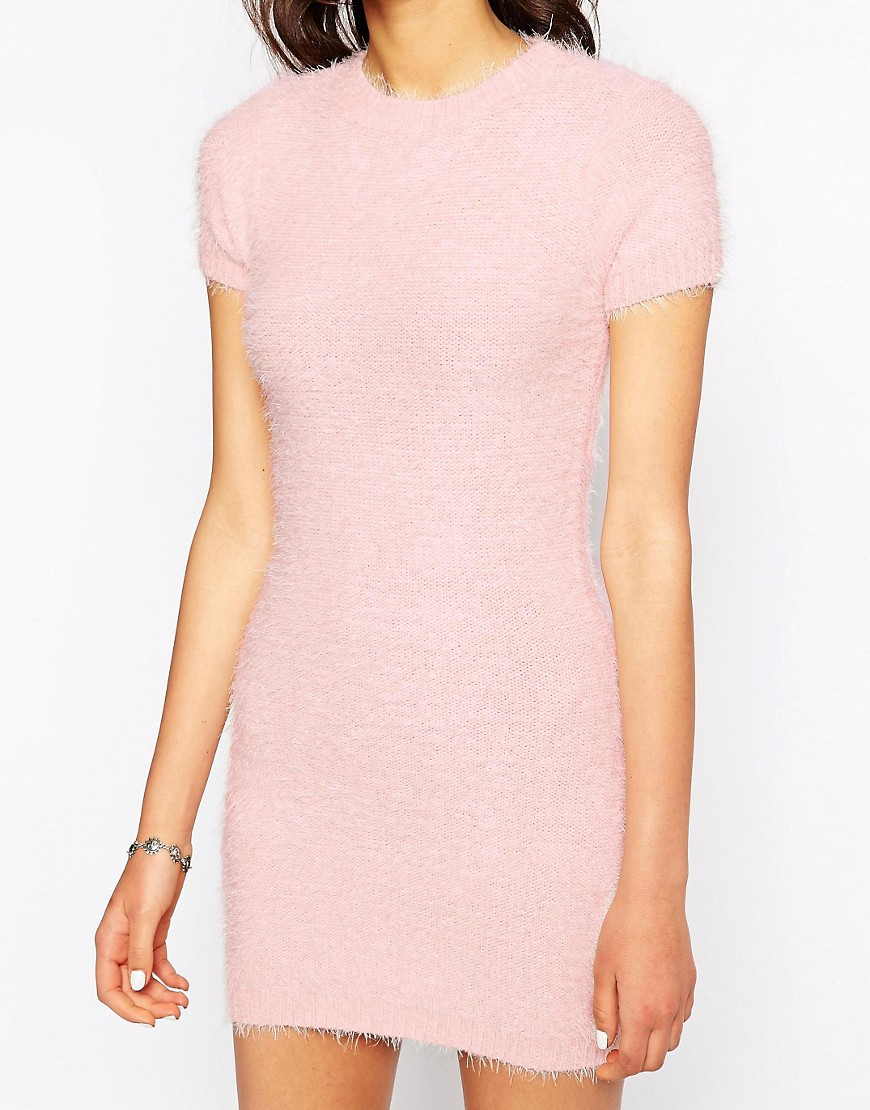 Image 3 ofMotel Begonia Fluffy Mini Dress in Soft Pink