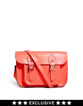 "Image 1 of Cambridge Satchel Company Exclusive to Asos 11"" Coral Fluro Leather Satchel"