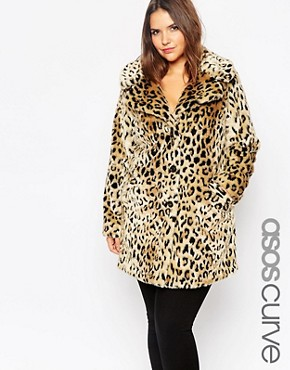 ASOS CURVE Faux Fur Coat in Leopard Print