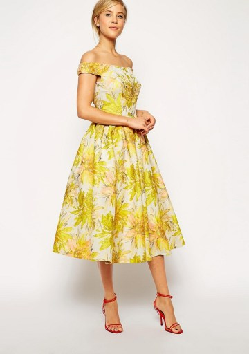 Sunflower Bardot Midi Prom Dress £95