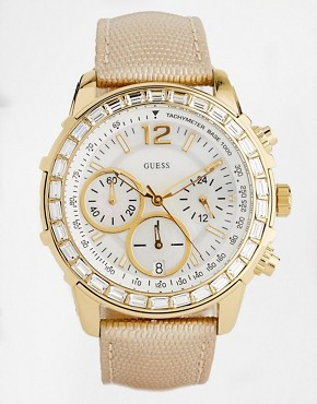 Image 1 of Guess Lady B Leather Strap Watch