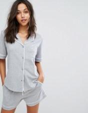 DKNY DKNY Signature Short Sleeve Top PJ Set - Grey 2018