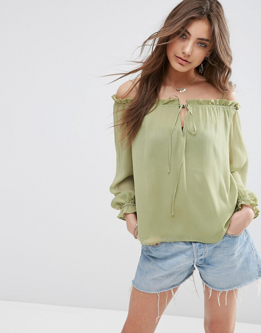 Image 1 of ASOS Pretty Sheer Off The Shoulder Top