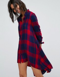 Stradivarius Check Midi Shirt Dress - Red