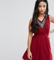 Yumi Petite Yumi Petite Skater Dress With Embellished Neckline - Red 2018