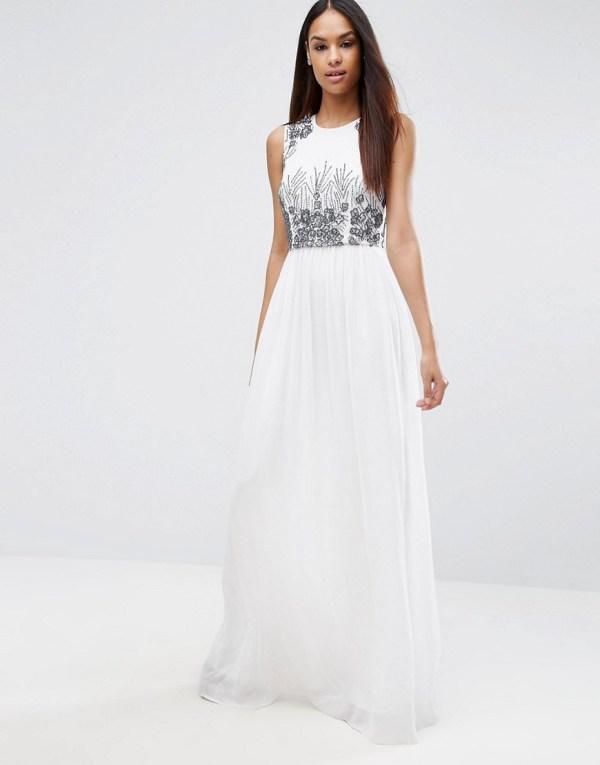 Asos Pretty Beaded Shell Maxi Dress White 75.00