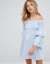 Walter Baker Walter Baker Aaron Off Shoulder Ruffle Sleeve Dress - Blue 2018
