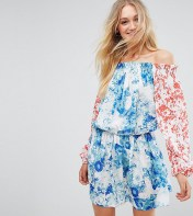 White Cove Tall White Cove Tall Allover Mix Match Floral Off Shoulder Mini Dress With Fluted Sleeve Detail - Multi 2018