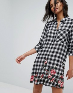 Stradivarius Check Mini Shirt Dress With Floral Print - Multi