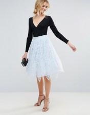 Chi Chi London Chi Chi London Midi Lace Skirt - Blue 2018
