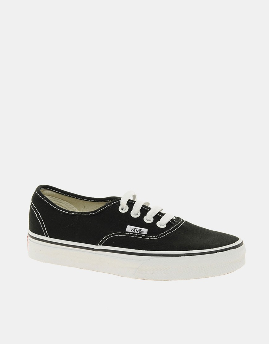 Image 2 of Vans Authentic Classic Black and White Lace Up Sneakers