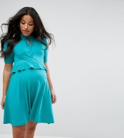ASOS Maternity - Nursing ASOS Maternity NURSING Ruffle Tie Neck Double Layer Skater Dress - Green 2018
