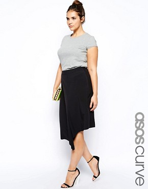 ASOS CURVE Exclusive Midi Skirt With Step Hem - Black