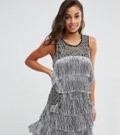 Boohoo Petite Silver Fringed Dress - Silver