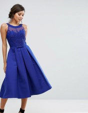 Little Mistress Little Mistress Structured Midi Dress with Beaded Crochet Top - Blue 2018