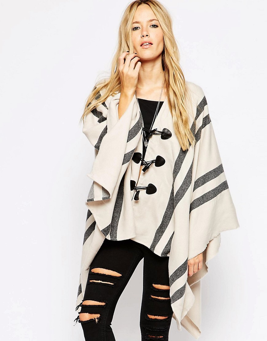 Image 1 of ASOS Cape With Stripe Panel And Toggle Detail