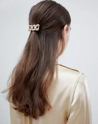 asos design chunky chain hair clip