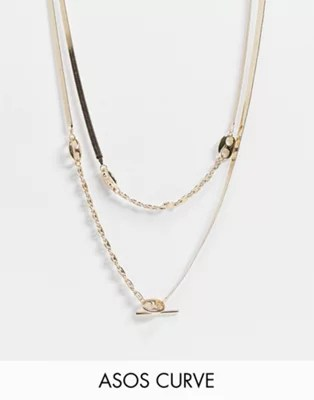 ASOS DESIGN Curve multirow necklace with herringbone and tab link chain in gold tone | ASOS
