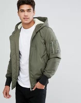 ASOS DESIGN fleece lined hooded bomber jacket with MA1 pocket in khaki | ASOS