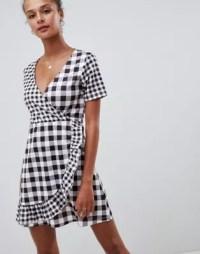 ASOS DESIGN gingham mix wrap dress | ASOS