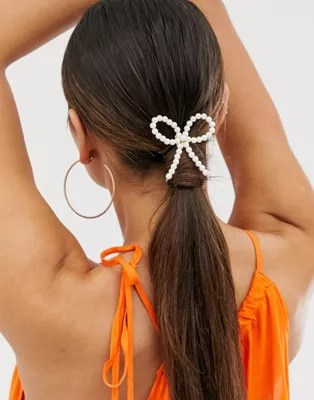 asos design hair tie with pearl