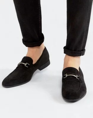 Black Leather Slip On Loafers