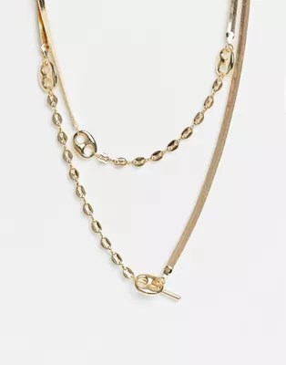 ASOS DESIGN multirow necklace with herringbone and tab link chain in gold tone | ASOS