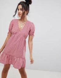 ASOS DESIGN tiered cotton smock mini dress in gingham | ASOS