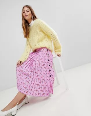 1f9ce7e05 Asos Design Asos Pleated Midi Skirt In Floral Print With Side Buttons