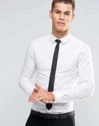 ASOS | ASOS Skinny Shirt In White With Black Tie SAVE