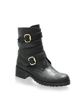 ASOS Buckle Detail Low Biker Boots