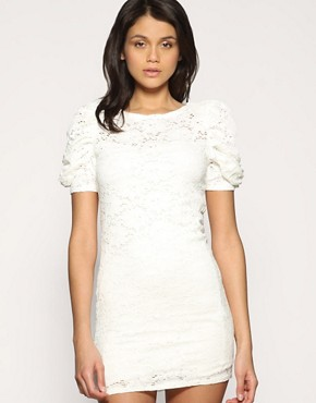 ASOS Heavy Lace Shoulder Pad Dress