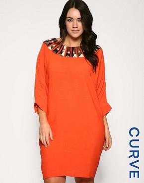 ASOS CURVE Embellished Neck Dress