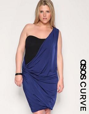 ASOS CURVE One Shoulder Slinky Overlay Dress