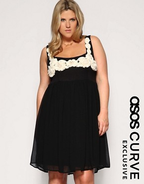ASOS CURVE Chiffon Corsage Babydoll Dress