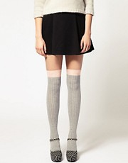 ASOS Over The Knee Two Tone Sock With Peach Trim
