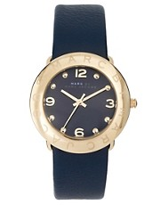 Marc By Marc Jacobs Navy Leather Strap Watch