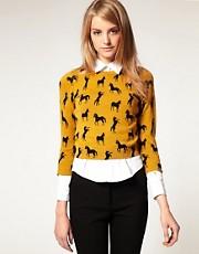 ASOS Horse Print Fine Knit Jumper