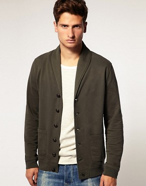 Image 1 of ASOS Shawl Collar Jersey Cardigan with Elbow Patches