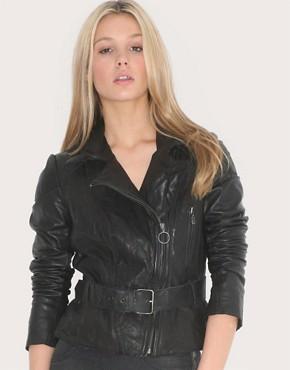 Image 1 ofmuubaa Belted Biker Leather Jacket