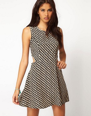 Image 1 of Glamorous Cut Out Side Aztec Dress