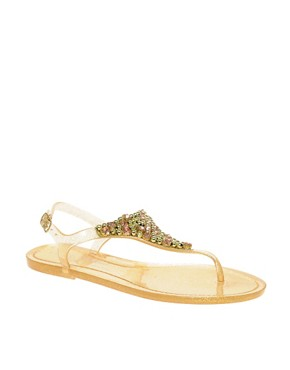 Image 1 of River Island Glitter and Diamante Jelly Sandals