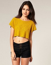 ASOS Horizontal Stitch Knitted Crop T-Shirt