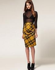 ASOS Twisted Pencil Skirt in Tartan