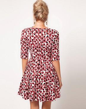 Image 2 ofASOS Skater Dress With Kiss Print