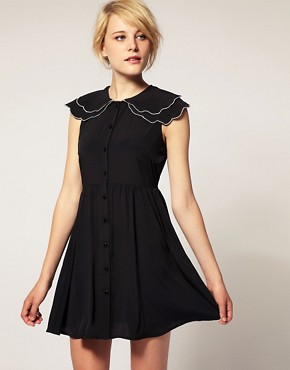 Image 1 of ASOS Tea Dress with Scallop Detail Collar