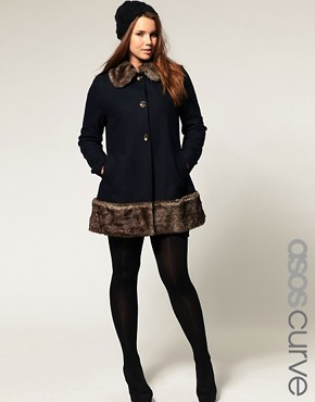 Image 1 ofASOS CURVE Coat with Faux Fur Hem and Collar
