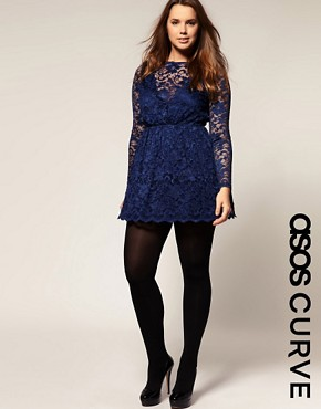 Image 1 of ASOS CURVE Lace Dress With Long Sleeve